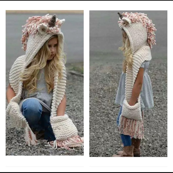 41c72c807 UNICORN HANDCRAFTED WOOL HAT SCARF GLOVES ALL IN 1 Boutique